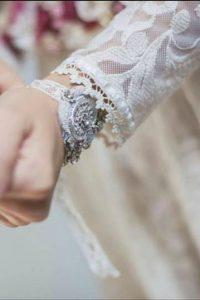 Pulsera de novia bordada vintage