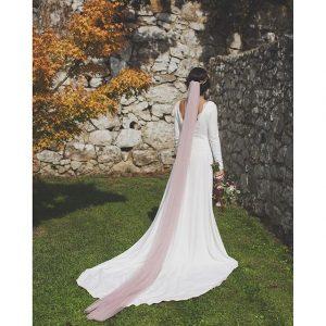 72573a67e Velo de novia rosa empolvado sedoso